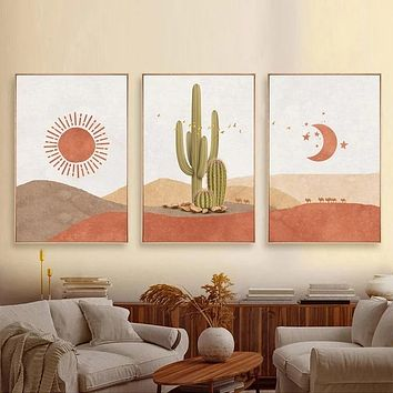 Desert Dreamin Wall Art Canvas Sun Moon Cactus Scenes 14 Different Sizes Available In Three Different Styles Bohemian Decor Paintings Prints Posters Wall Art Picture Home Decoration Unframed