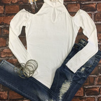 Cold Shoulder Ribbed Top: White