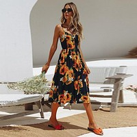 Sunflower Long Buttoned Sundress