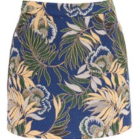 Peach Floral Jaquard Skirt - New In Fashion - New In