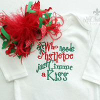Baby Girls Christmas Bodysuit with Over The Top Bow - xmas - Baby Shower Gifts - Embroidered Holiday Outfit - Mistletoe - Funny Baby Clothes