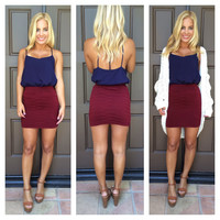 Like A Glove Bandage Skirt - BURGUNDY