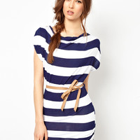 Wal G Drape Stripe Dress