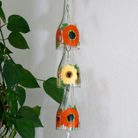 Glass Wind Chime, Recycled wine bottle wind chime, Gerber Daisy, Orange, Yellow, Sun catcher, yard art, clear glass, House warming gift