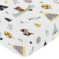 Fitted Crib Sheet for Outdoor Adventure Baby/Toddler Bedding - Nature Fox Bear Animals Boys Print