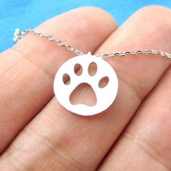 Round Puppy Paw Print Cut Out Shaped Pendant Necklace in Silver | Animal Jewelry