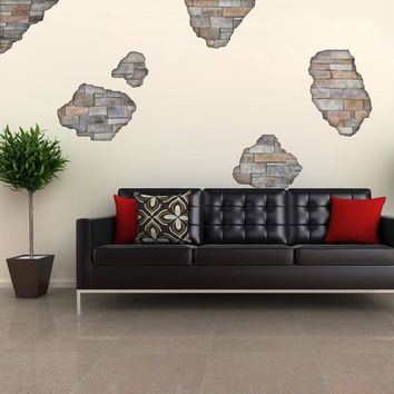 Faux Flat Stone Breakaway Wall Decals, Removable and Reusable Peel and Stick Fabric Wall Stickers