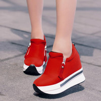 New Wedges Women Shoes 2017 Platform Shoes Woman Creepers Slip On Ankle Shoes Fashion Flats Casual Women Shoes