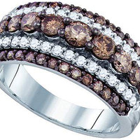 Cognac Diamond Ladies Fashion Ring in 10k White Gold 1.59 ctw