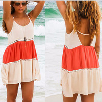 Peach and Coral Colorblock Spaghetti Strap Dress