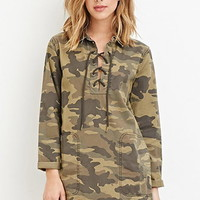 Camo Print Collared Dress