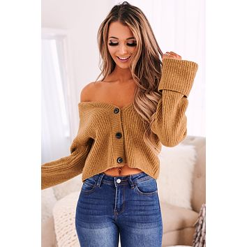 Button It Up Ribbed Cardigan (Dark Taupe)