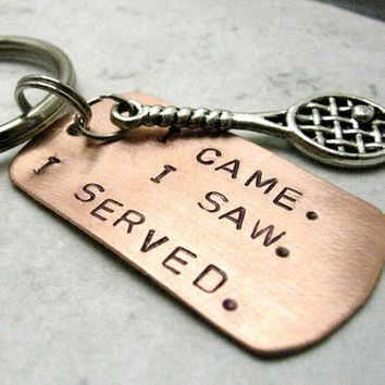 Tennis Racquet Key Chain, I Came, I Saw, I Served, swivel lobster clasp avail in lieu of split ring
