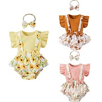 3 Colors Toddler Baby Girls Clothes Sets 3pcs Flower Printing Flying Sleeve Suspender Shorts  Headband Set