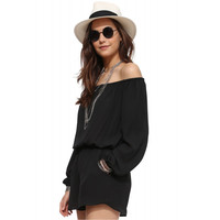 Off-shoulder Cuff Sleeve Blouson Romper