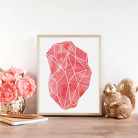 Diamond Poster, Pink Diamond, Gem Print, Geometric Poster, Watercolor Art, Geometric Art, Abstract Poster, Chic Wall Art, Diamond Art