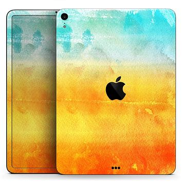"Lined Orange 443 Absorbed Watercolor Texture - Full Body Skin Decal for the Apple iPad Pro 12.9"", 11"", 10.5"", 9.7"", Air or Mini (All Models Available)"