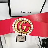 GG Hot Sale Women Men Personality Pearl Smooth Buckle Leather Belt Red