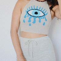Tearing Eye Knit Halter