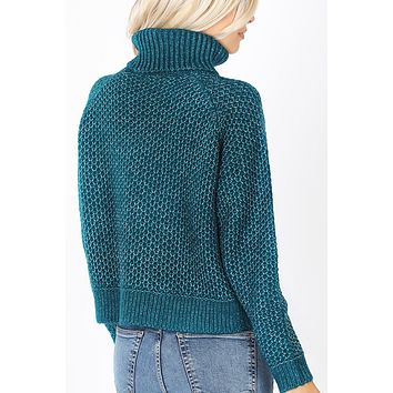 Turtleneck Melange Knit Sweater