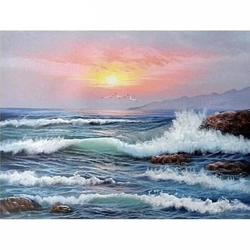 DIY Paint By Numbers Wave Seascape Painting