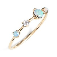 Women's WWAKE 'Counting Collection - Large Four-Step' Opal & Diamond Ring - Yellow Gold