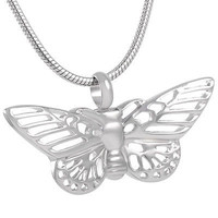 """Stainless Steel """"Silver Butterfly"""" Urn Necklace"""