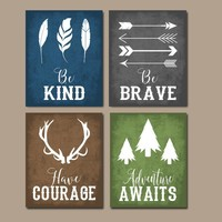 WOODLAND QUOTE Wall Art,Woodland Nursery Decor,CANVAS or PrintRustic Nursery Decor,Be Brave Be Kind Have Courage,Tribal Quotes,Set of 4