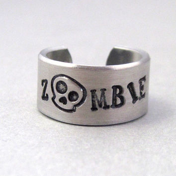 Personalized Ring - ZOMBIE- Hand Stamped Aluminum Ring - Customizable - Gifts Under 20