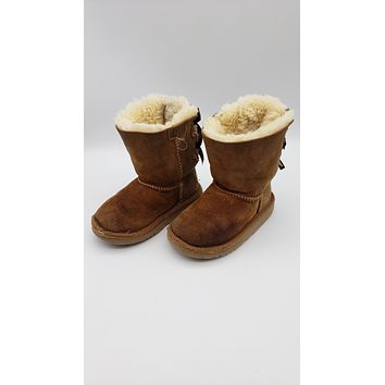 Ugg Toddler Girls Bailey Bow Chestnut and Sheepskin Boots