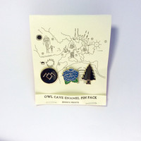 Twin Peaks inspired Owl Cave Enamel pin pack replica fanDavid Lynch Cooper Audrey Laura Palmer Damn Fine Coffee Owl 90s tv-show