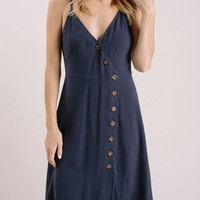 Lorna Navy Button Front Dress