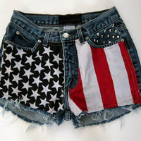 high wasted studded american flag hipster shorts by hipsterapparel