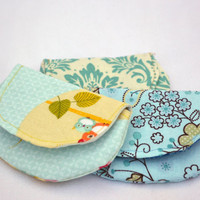 Set of three coin purses, change purse, stocking stuffers in blues with flowers