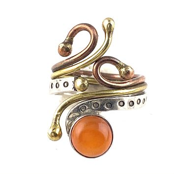 Carnelian Three Tone Sterling Silver Adjustable Ring