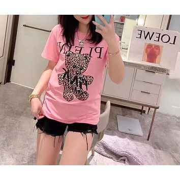 Woman Leisure Fashion Letter Little Bear Personality Printing  Hedging Crew Neck Loose Short Sleeve Motion Tops