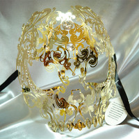 Free Shipping High Quality Golden Skull Mask Phantom Metal Masquerade Mask  Halloween Funny  hollow full face ghoul mask