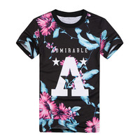 Raisevern new floral 3D t shirt A Admirable print vintage style 3d tee tops men women short sleeve t-shirt top plus size TS29