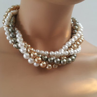 Pearl Wedding Necklace with three multi color strands