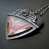 Agua Nueva Agate and Faceted Pink Amethyst Sterling Silver One of a Kind  Necklace