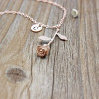 Fashion Jewelry Custom Letter Initial Rose Gold Flower Pendant Necklace