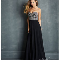 Night Moves by Allure - Black Chiffon & Silver Micro Bead Prom Gown Prom 2015