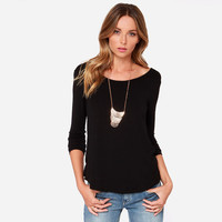 Back V Long Sleeve Blouse