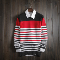Men's Casual Comfortable Knitwear Soft Striped Sweater