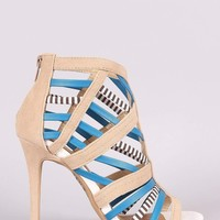 Shoe Republic LA Strappy Caged Open Toe Stiletto Heel