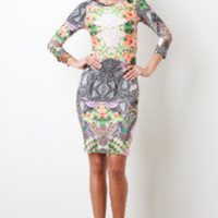 Women's Floral Abstract Bodycon Mini Dress - Size S