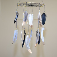 Native American Style, Tribal  Black Dream catcher Mobile, Black Bedroom Decor, Natural Feathers  Mobile, Tribal Nursery