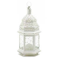 White Moroccan Lantern with Etched Panels