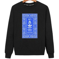 ADIDAS x NEIGHBORHOOD Joint name skull print round neck long sleeve sweater black