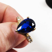 Blue Teardrop Gemstone Dinner Ring, Vintage Size 5 3/4 US Gold Tone Jewelry
